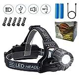 EVERSHOW USB Wiederaufladbare LED Stirnlampe Kopflampe, Einstellbarer Fokus, Wasserdicht Helmlampe stirnlampen Perfekt fürs Campen, Wandern, Angeln, Joggen, Klettern