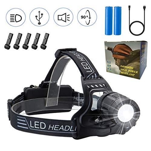 EVERSHOW USB Wiederaufladbare LED Stirnlampe Kopflampe, Einstellbarer Fokus, Wasserdicht Helmlampe stirnlampen Perfekt fürs Campen, Wandern, Angeln, Joggen, Klettern (Manuell)