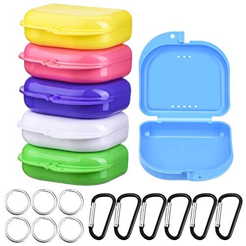 6 Stücke Zahnprothesen Box Mundschutzdose Mehrfarbige Zahnprothesen Box für Kieferorthopädische Prothesen mit D-förmigen Schnallen und Schlüsselbundringen