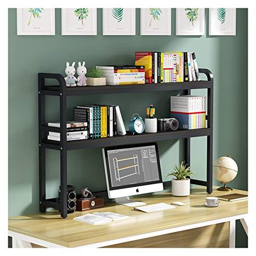 Estante de librería Estante de escritorio con marco de metal negro Muestra de gran capacidad Mostrar almacenamiento Estante Organizador Decoración para estudio de oficina Dormitorio Dormitorio Exhibic