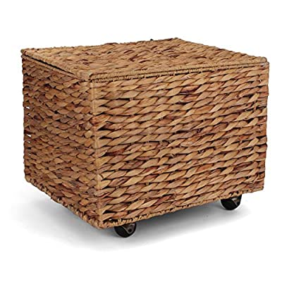 Seagrass Rolling File Cabinet - Home Filing Cabinet - Hanging File Organizer - Home and Office Wicker File Cabinet - Water Hyacinth Storage Basket for File Storage