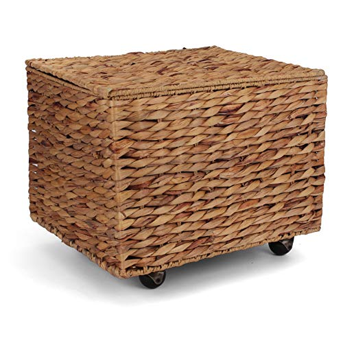 Seagrass Rolling File Cabinet - Home Filing Cabinet - Hanging File Organizer - Home and Office Wicker File Cabinet - Water Hyacinth Storage Basket for File Storage (Natural)