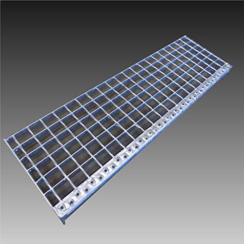 Treppenstufen Metall Stufe / Breite: 80cm Tiefe: 24cm / Maschenweite: 30x30mm / Gitterroststufen Stahl Verzinkt