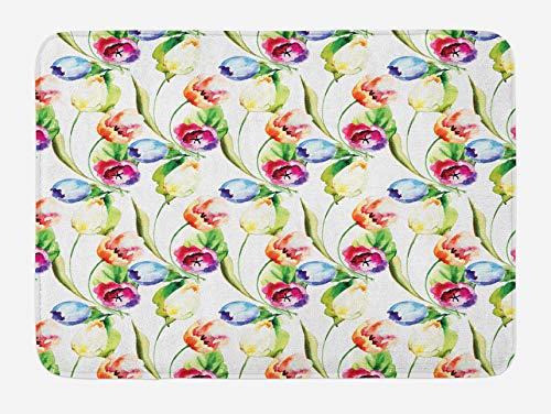 N\A Alfombra de baño de tulipán, Coloridos capullos de Flores Que reviven la Naturaleza, Pintura de Acuarela con diseño de Azulejos, Felpa para decoración de baño con Respaldo Antideslizante