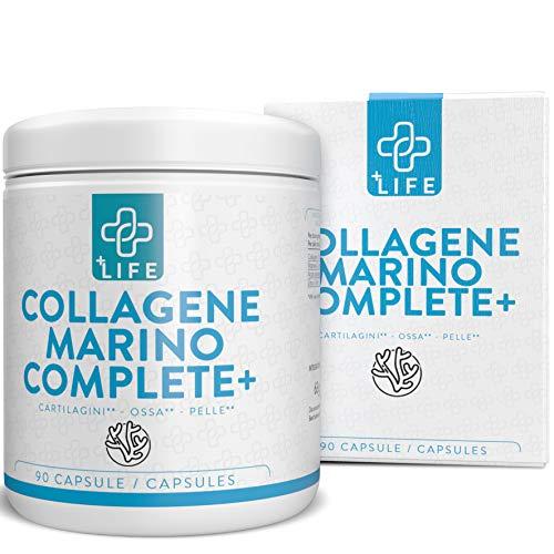 Collagene Marino + Acido Ialuronico Piulife  90 Capsule Collagene Idrolizzato, Vitamina C, Zinco  Collagene Viso per Bellezza e Benessere, integratore articolazioni, Rinforza la Pelle e le Ossa