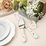 FASHIONCRAFT 2464 Vintage Baroque Design Antique Ivory Server and Cake Knife Set with Stainless Steel Blades – Wedding Favor, One Size