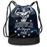 JINGS Arnold Schwarzenegger Mr Olympia Bodybuilding Bundle Bag Mochila con cordón Unisex Waterproof Bookbag