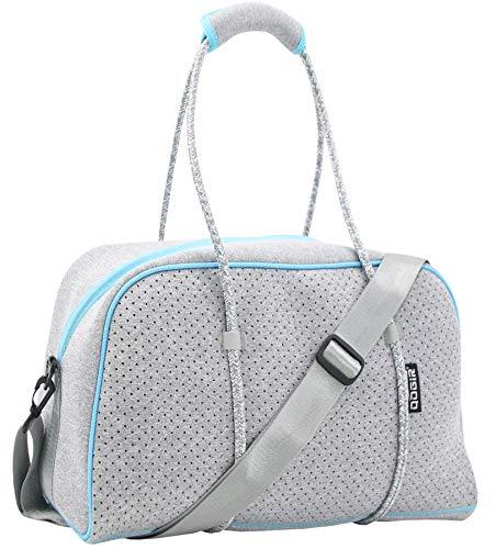 QOGiR Neoprene Sports Gym Bag Travel Duffel Bag with Elastic Shoe Bag (Silver Grey, Small)