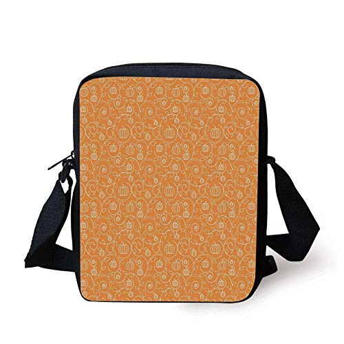 Harvest,Pattern with Pumpkin Leaves and Swirls on Orange Backdrop Halloween Inspired,Orange White Print Kids Crossbody Messenger Bag Purse
