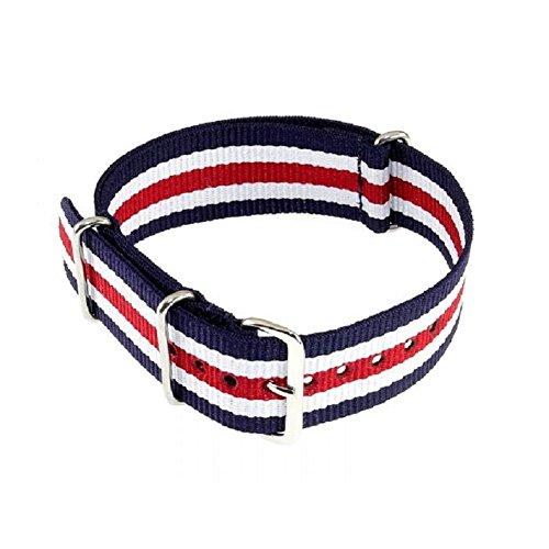 Cinturino per orologio da polso, Nato, 20mm, in nylon, colore blu/bianco/rosso