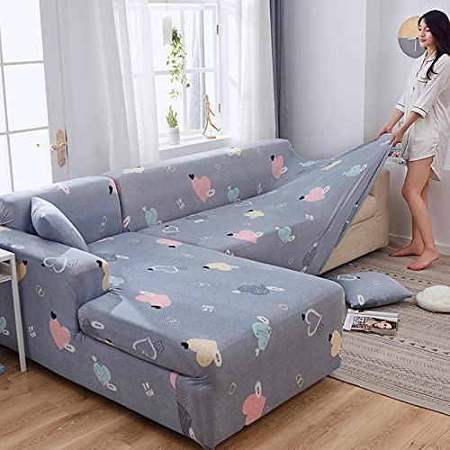 4-sits sofföverdrag rosa hjärta, blå-grå hög stretch sofföverdrag halkfri soffa överdrag med elastisk botten och halkfri skum för vardagsrum hund husdjur möbelskydd
