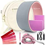 Yoga Wheel Set (11-in-1),Yoga Wheel Back Wheel for Back Pain, Yoga Blocks 2 Pack with Strap, Resistance Bands,Yoga Wheel Bag, Perfect Yoga Accessory for Stretching and Improving Backbends (Grey)