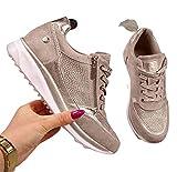 WODETIAN Sandalias de Vestir Zapatillas Deportivas de Mujer Moda Cremallera Cordones Zapatillas de Running Fitness Sneakers Casual Zapatos para Caminar,Oro,41