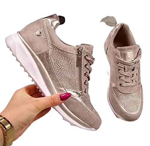 WODETIAN Sandalias de Vestir Zapatillas Deportivas de Mujer Moda Cremallera Cordones Zapatillas de Running Fitness Sneakers Casual Zapatos para Caminar,Oro,38