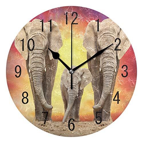 Use7 Wanduhr mit afrikanischem Elefant auf der Straße, rund, Acryl, Nicht tickend, geräuschlose Uhr, Kunst für Wohnzimmer, Küche, Schlafzimmer