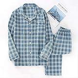 XFLOWR Traje de Pijama a Cuadros para Hombre 100% algodón Gasa Conjunto de Pijama Delgado Casual Manga Larga Pantalones Largos Pijama para Hombre Otoño Hombres Ropa de Dormir L Azul