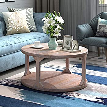 P PURLOVE Round Rustic Coffee Table Wood Storage Shelf for Living Room with Dusty Wax Coating 35.4 Inch Grey Wash