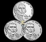 2021 Various Mint Marks S Proof P & D Jefferson Nickels S P & D Jefferson Nickels 3 Coin Update Set Proof & Uncirculated