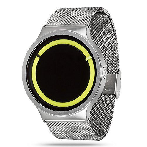 zhuolei ZIIIRO Eclipse Dream Concept Modische quaetz Bewegung Armbanduhr für Damen und Herren Offizielles Berechtigung, Silver+Yellow
