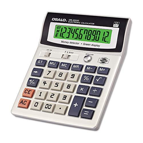 QIA Standardfunktion Tischrechner LED-Nachtlichtanzeige 12-stelliger Taschenrechner mit UV-Banknotenprüfcomputer für Office Cashier Finance