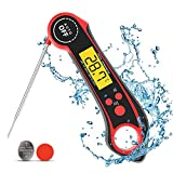 Instant Read Meat Thermometer for Cooking,Ultra Fast Precise Waterproof Digital Food Thermometer with Backlight,Magnet,Calibration,and Foldable Probe for Deep Fry,BBQ,Grill,and Roast Turkey