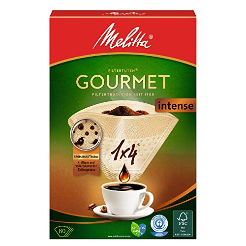 Melitta 1x4 Gourmet Filtertüten, Intense, Aromamax Struktur, Naturbraun, (1 x 80 Stück)