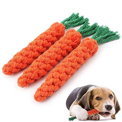 BINGXIAN Juguetes para masticar cachorros, juguetes de cuerda para perros, juguetes para masticar perros, cuerda de zanahoria, paquete de 3 cuerdas trenzadas para limpieza de dientes de perro pequeño