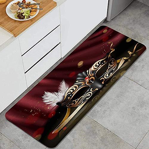ZELXXXDA Alfombra de Cocina,Disfraz de Mascarada Dorado y Negro, Alfombra Antideslizante con Respaldo para Alfombra de Cocina, tapete, tapete, 47.2 x 17.7 Pulgadas