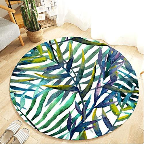 Scrolor Runder Teppich Teppiche Schlafzimmer Dekoration Wohnzimmer Bodenmatte Flanell Wasser absorbierende Botanik Elemente Design