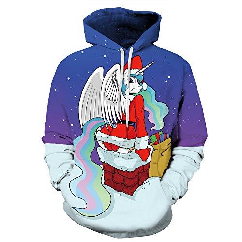 GAOYANZI Unisex Weihnachten Hoodies Sweatshirt Neuheit hässlichen Weihnachten 3D-Druck Pullover Baseball-Sakko - S-3XL,H,M