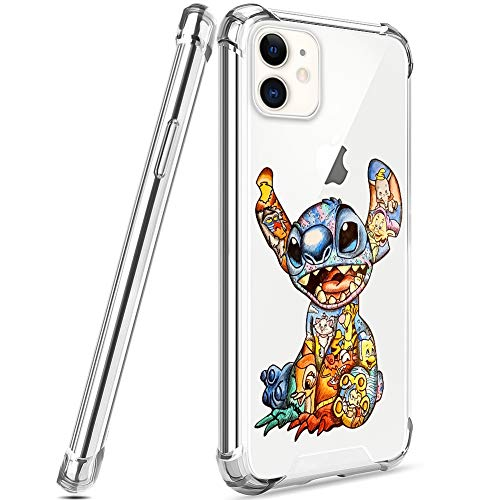 DISNEY COLLECTION Designed for iPhone 11 Case 6.1 Inch (2019) Colorful Stitch [Shock-Skid] [Scratch-Resistant] [Military Grade Protection] Hard PC + Flexible TPU Crystal Clear Cover Case