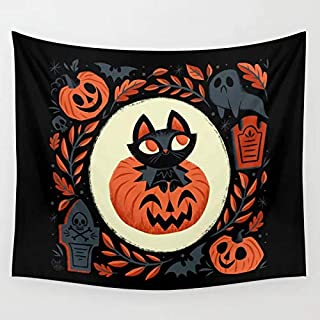 Large Halloween Tapestry for Hanging on Walls Pumpkin Cat Art for Halloween 2019  3D Print Halloween Decoration Tapestry for Living Room,Bedroom,Hostel Walls Latest Spooky Skeleton and Ghost Tapestry