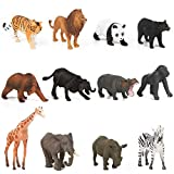 PROLOSO Mini Realistic Safari Jungle Wild Forest Animals Figures Party Favors Cupcake Toppers 12 Pack
