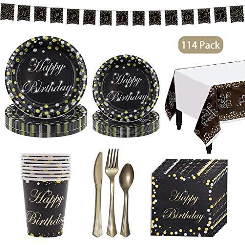 DreamJing 114-teiliges Set Partygeschirr Schwarzes Gold, Happy Birthday Party-Set Teller Becher Servietten für 16 Kindergeburtstag Partydekoration