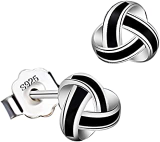 925 Sterling Silver Irish Vintage Triangle Celtic Knot Black Paint Stud Small Earrings Girl