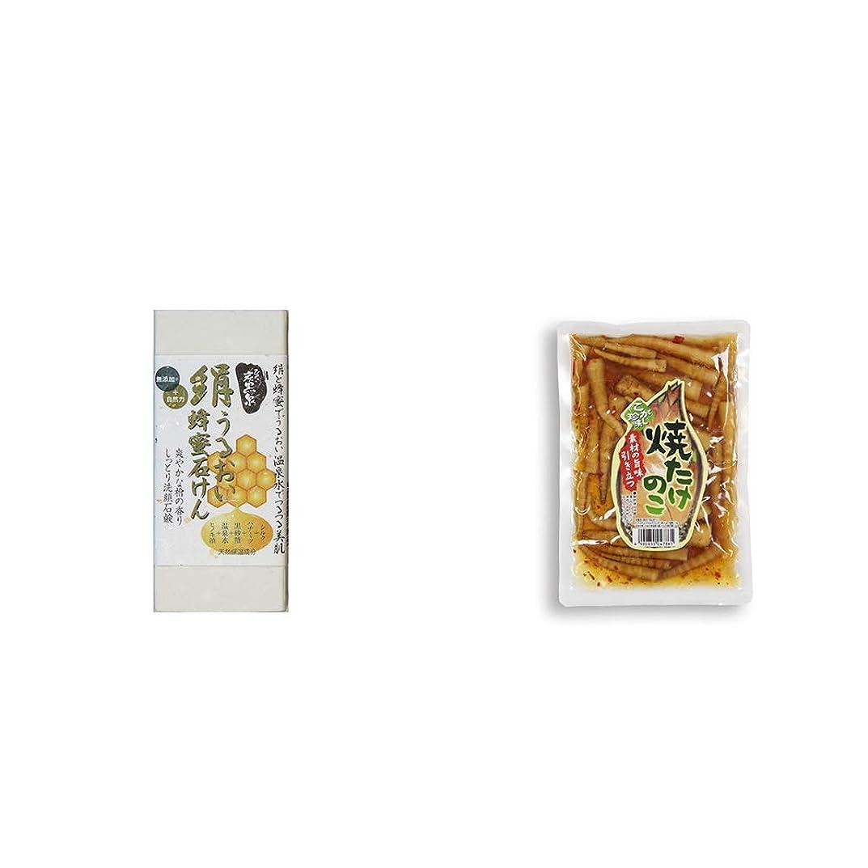 トーナメントのり幾何学[2点セット] ひのき炭黒泉 絹うるおい蜂蜜石けん(75g×2)?焼たけのこ(300g)