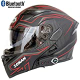 Motorcycle Bluetooth Helmet Modular Helmet Bluetooth + FM D.O.T Safety Standard Anti-Fog Dual-Mirror Helmet with Microphone and Automatic Response,Red,L