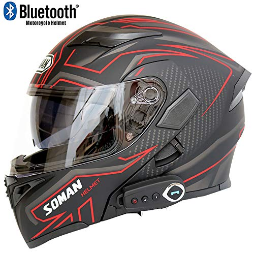 Motorcycle Bluetooth Helmet Modular Helmet Bluetooth + FM D.O.T Safety Standard Anti-Fog Dual-Mirror Helmet with Microphone and Automatic Response,Red,M