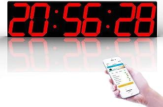 ساعة حائط رقمية بستة أرقام LED واي فاي متعددة الوظائف، للمنزل/الخارجي/العامة (69.5 * 16 * 2 سم) LJJCUICAN