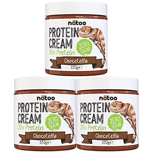 Natoo - Crema para untar proteica de chocolate avellana – 3 x 250 g pack – Zero azúcares – Crema de proteínas
