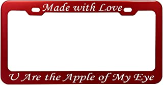 Customized Red Anodized Aluminum License Plate Frame Laser Engraved