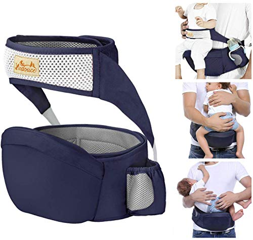 Viedouce Hip Seat Front Baby Carrier with Safety Belt Lightweight Ergonomic Waist Stool for 6-24 mo, Navy
