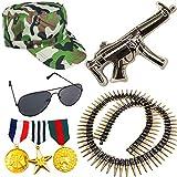 German Trendseller® Soldaten - Set - Ryan ┃ Armee Capy + Waffe + Munitionsgürtel + Medaillen 3er...