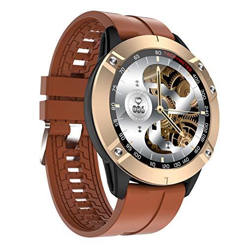 HQPCAHL Smartwatch Reloj Inteligente para Hombres, Fitness Tracker con Llamada Bluetooth Monitor De Frecuencia Cardíaca Presión Arterial Oxígeno En Sangre Sueño Batería De 200 MAH Li,Marrón