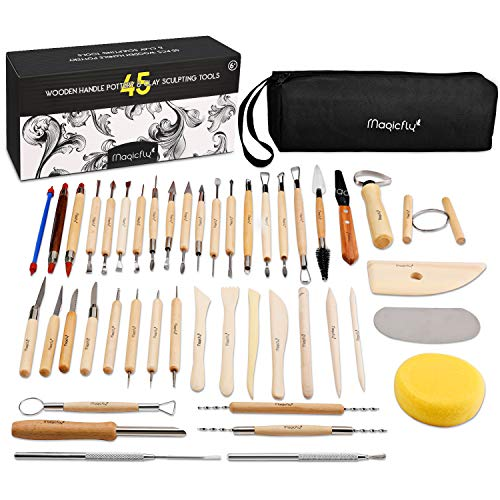 Magicfly Herramientas de Escultura, 45 PCS Herramientas para Modelado de Arcilla Polimérica Cerámica Alfarería, Herramientas con Estuche para Manualidades Artesanía