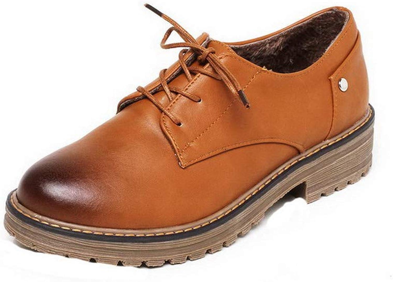 AllhqFashion Women's Lace-Up Low-Heels Microfibre Solid Round Toe Pumps-shoes, FBUDD011005