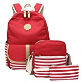 School Backpack, Aiduy Student Canvas Bookbag Lightweight Laptop Bag with Shoulder Bags and Pen Case for Teen Boys and Girls (Red, 3pcs)