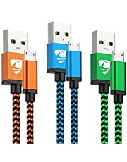 Aioneus Cable Micro USB Carga Rápida Cargador Android 3Pack 2M Largo Cable Android Nylon Movil Cables Cargador para Samsung J4 Plus J5 J6 J7 S7 S6 Edge A10 A6 Tablet, Huawei, Lenovo, Moto, LG, PS4