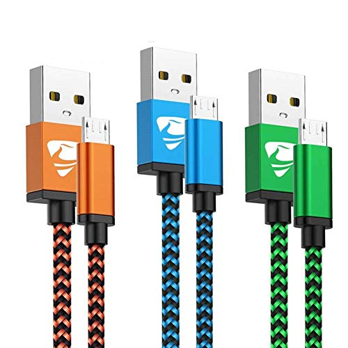 Aioneus Cable Micro USB Carga Rápida Cargador Android 3Pack 2M Largo Cable Android Nylon Movil Cables Cargador para Samsung J4 Plus J5 J6 J7 S7 S6 Edge A10 A6 Tablet, Huawei, Lenovo, Moto, LG, PS4