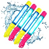 BFUNTOYS Water Gun Glow in The Dark, Water Squirter Shooters for Kids 4 Pack, Blaster Super Soaker Squirt 300CC, Long Range, Summer Swimming Pool Toys for Boys, Girls, Beach Outdoor Water Fighting